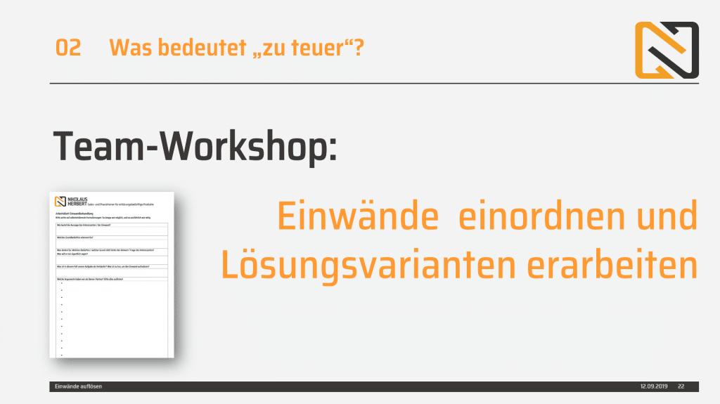 """Team-Workshop zum Thema """"zu teuer"""""""
